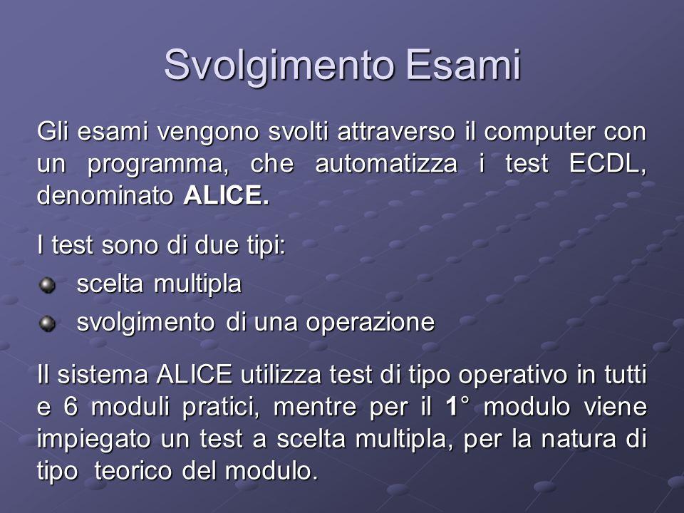 Svolgimento Esami I test sono di due tipi: scelta multipla svolgimento di una operazione Gli esami vengono svolti attraverso il computer con un programma, che automatizza i test ECDL, denominato ALICE.