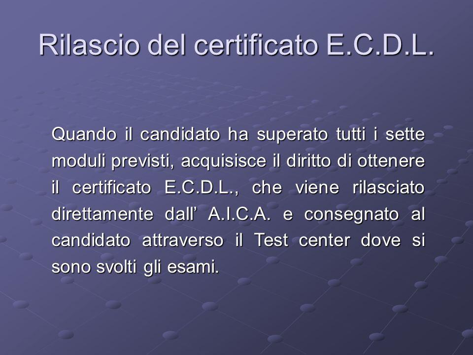 Rilascio del certificato E.C.D.L.