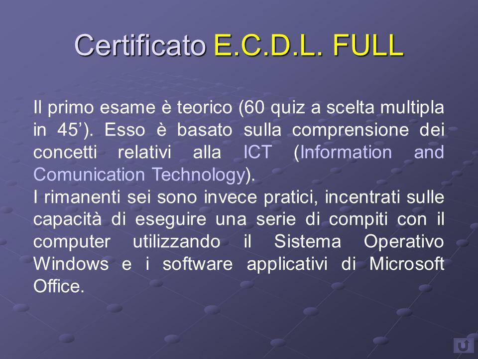 Certificato E.C.D.L. FULL Il primo esame è teorico (60 quiz a scelta multipla in 45').