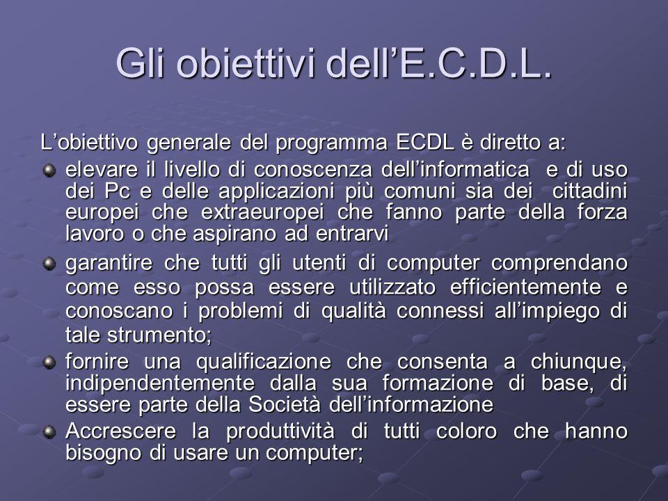 Gli obiettivi dell'E.C.D.L.