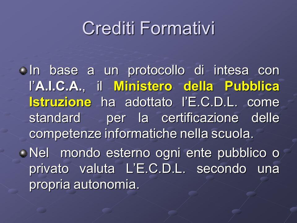 Crediti Formativi In base a un protocollo di intesa con l'A.I.C.A., il Ministero della Pubblica Istruzione ha adottato l'E.C.D.L.