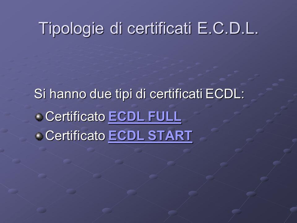 Tipologie di certificati E.C.D.L.