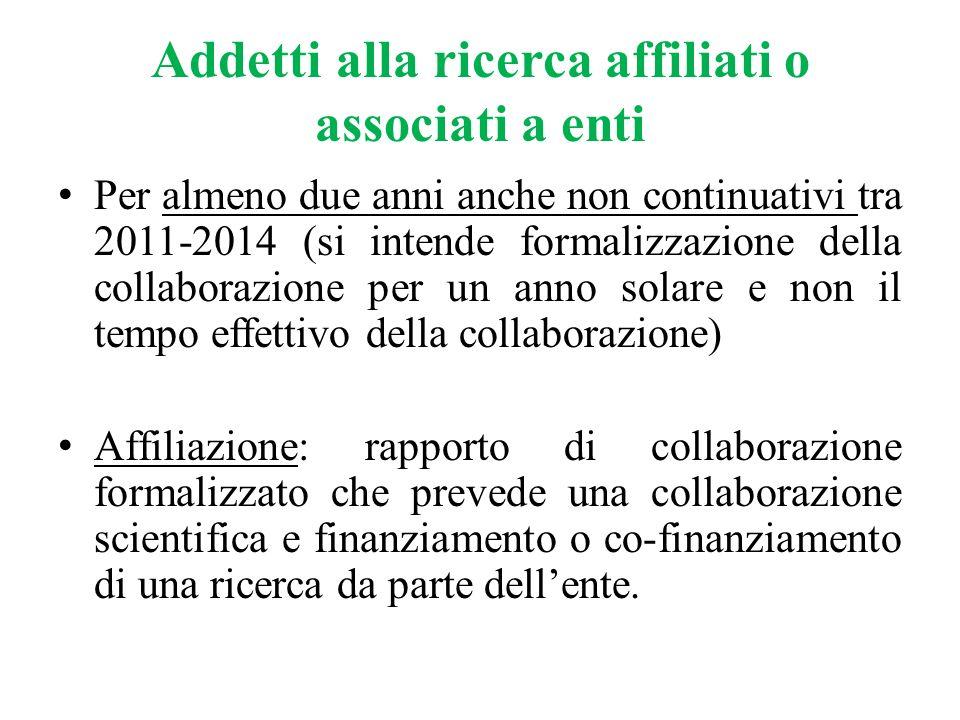 Addetti alla ricerca affiliati o associati a enti Per almeno due anni anche non continuativi tra 2011-2014 (si intende formalizzazione della collabora