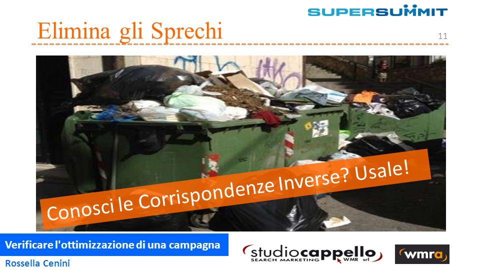 Verificare l ottimizzazione di una campagna 11 Rossella Cenini Elimina gli Sprechi Conosci le Corrispondenze Inverse.