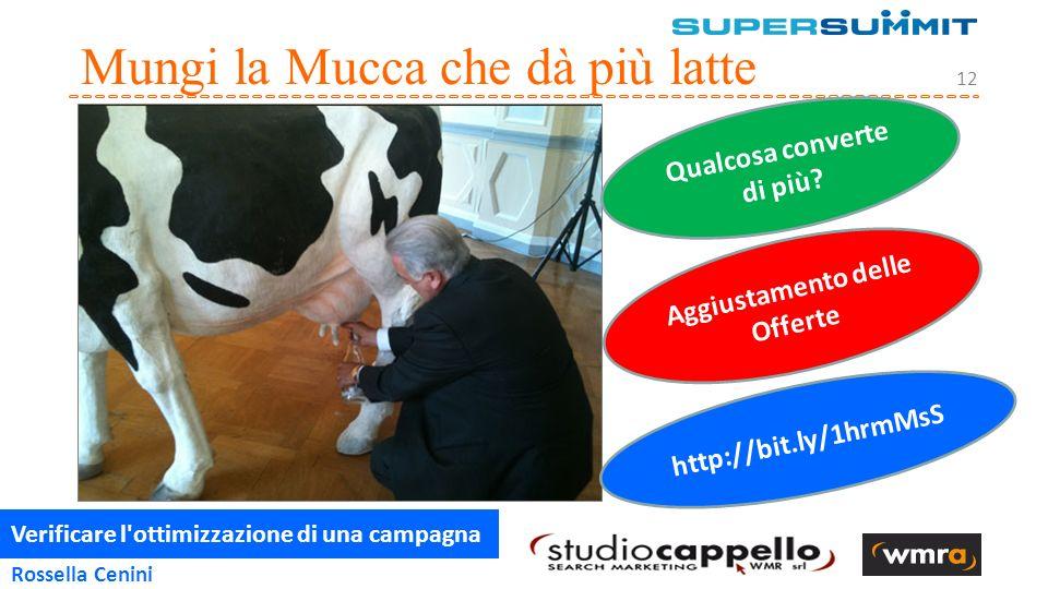 Verificare l ottimizzazione di una campagna 12 Rossella Cenini Mungi la Mucca che dà più latte http://bit.ly/1hrmMsS Qualcosa converte di più.