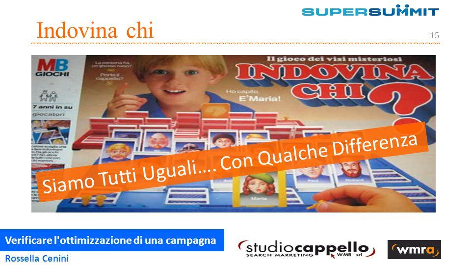 Verificare l ottimizzazione di una campagna 15 Rossella Cenini Indovina chi Siamo Tutti Uguali….
