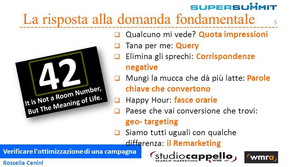 Verificare l ottimizzazione di una campagna 5 Rossella Cenini La risposta alla domanda fondamentale  Qualcuno mi vede.