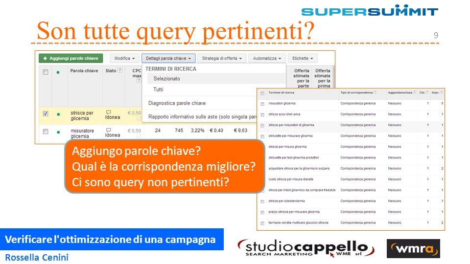 Verificare l ottimizzazione di una campagna 10 Rossella Cenini Il tipo di corrispondenza http://bit.ly/1bEvRzm Tipo di corrispondenza e Query di Ricerca