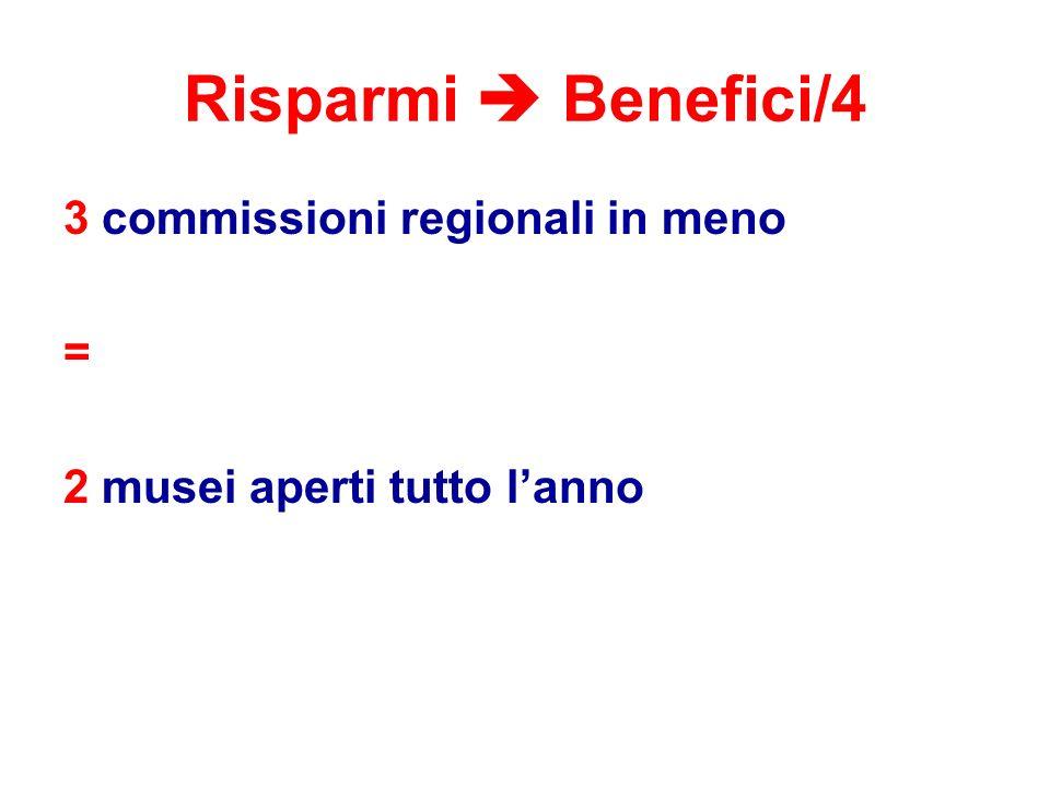 Risparmi  Benefici/4 3 commissioni regionali in meno = 2 musei aperti tutto l'anno