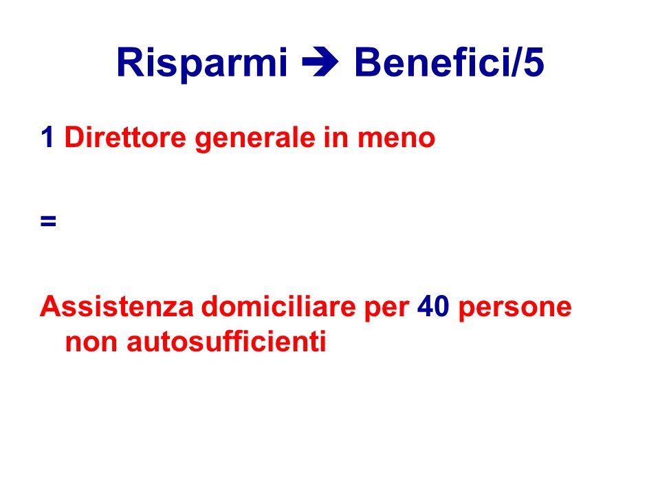 Risparmi  Benefici/5 1 Direttore generale in meno = Assistenza domiciliare per 40 persone non autosufficienti