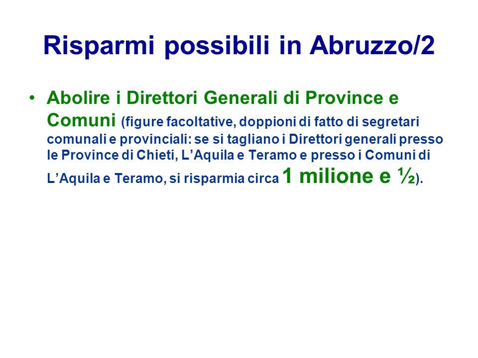 Risparmi possibili in Abruzzo/2 Abolire i Direttori Generali di Province e Comuni (figure facoltative, doppioni di fatto di segretari comunali e provi