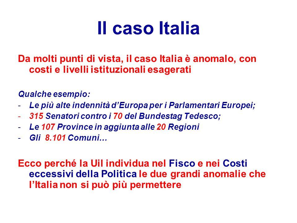 Il caso Italia Da molti punti di vista, il caso Italia è anomalo, con costi e livelli istituzionali esagerati Qualche esempio: -Le più alte indennità