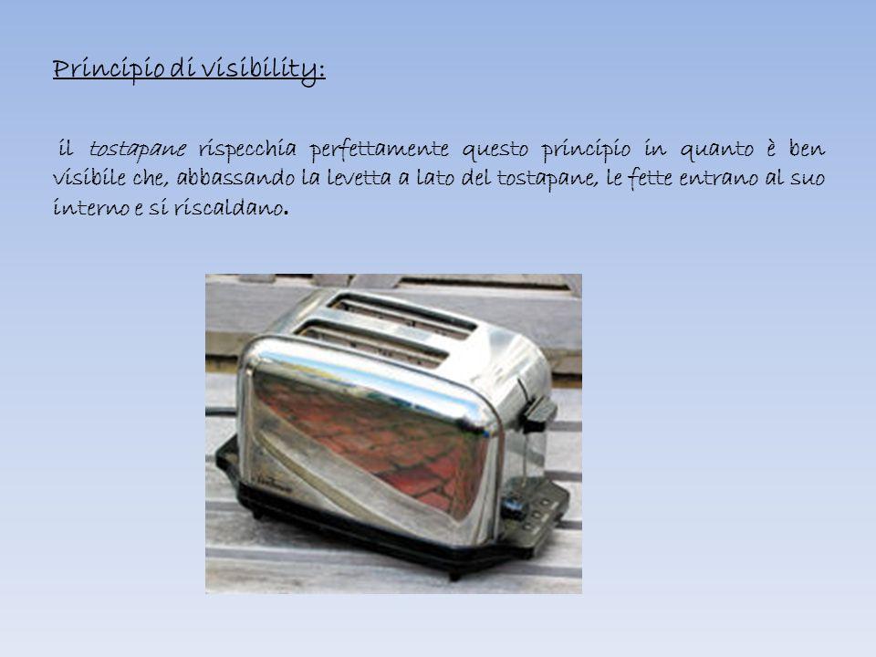 Principio di visibility: il tostapane rispecchia perfettamente questo principio in quanto è ben visibile che, abbassando la levetta a lato del tostapane, le fette entrano al suo interno e si riscaldano.