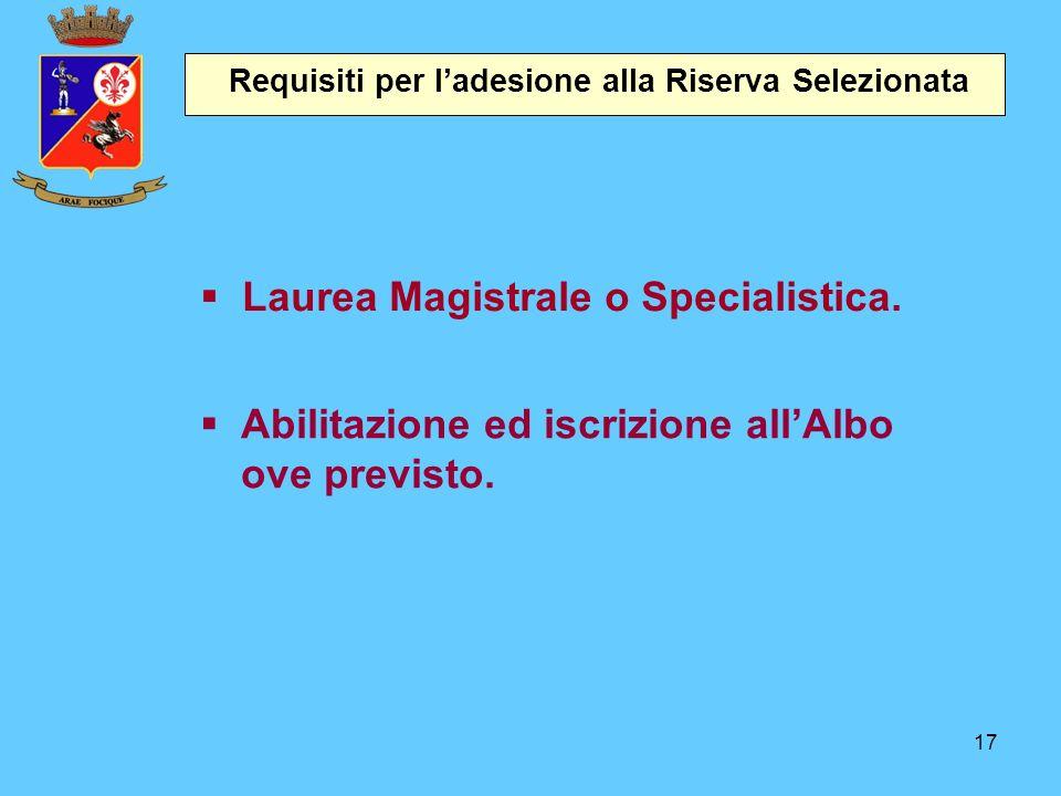 17 Requisiti per l'adesione alla Riserva Selezionata  Laurea Magistrale o Specialistica.  Abilitazione ed iscrizione all'Albo ove previsto.