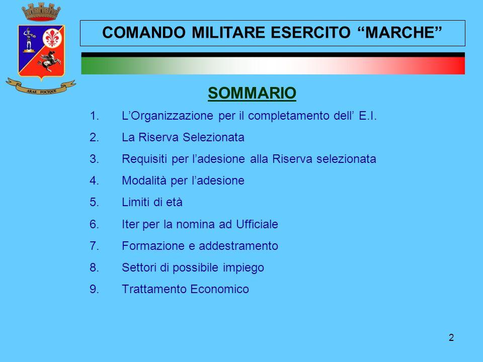 2 SOMMARIO 1.L'Organizzazione per il completamento dell' E.I. 2.La Riserva Selezionata 3.Requisiti per l'adesione alla Riserva selezionata 4.Modalità