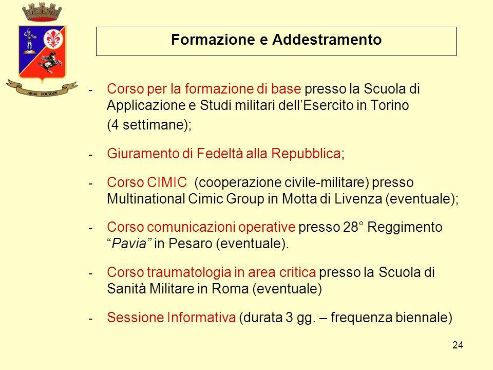 24 Formazione e Addestramento - Corso per la formazione di base presso la Scuola di Applicazione e Studi militari dell'Esercito in Torino (4 settimane