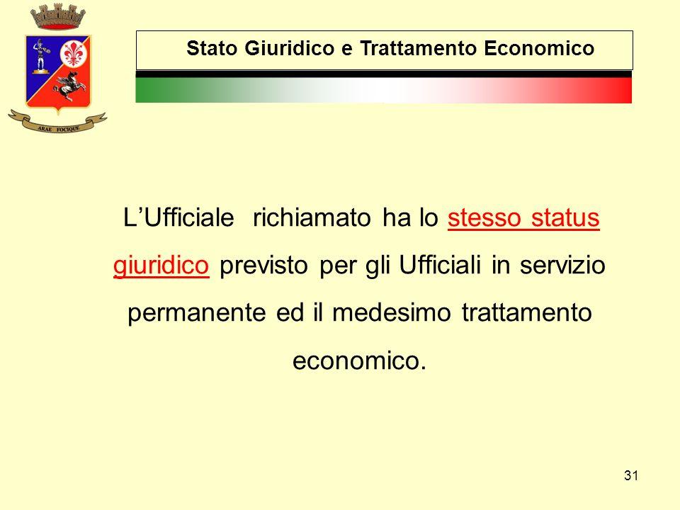 31 Stato Giuridico e Trattamento Economico L'Ufficiale richiamato ha lo stesso status giuridico previsto per gli Ufficiali in servizio permanente ed i