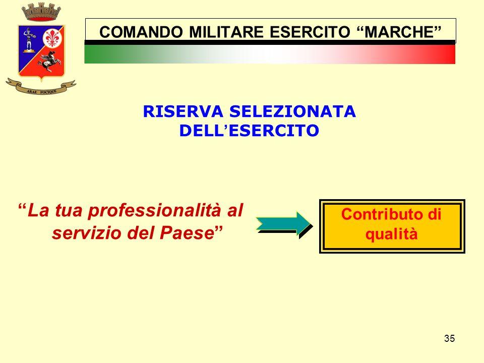 """35 COMANDO MILITARE ESERCITO """"MARCHE"""" """"La tua professionalità al servizio del Paese"""" Contributo di qualità RISERVA SELEZIONATA DELL ' ESERCITO www.ese"""