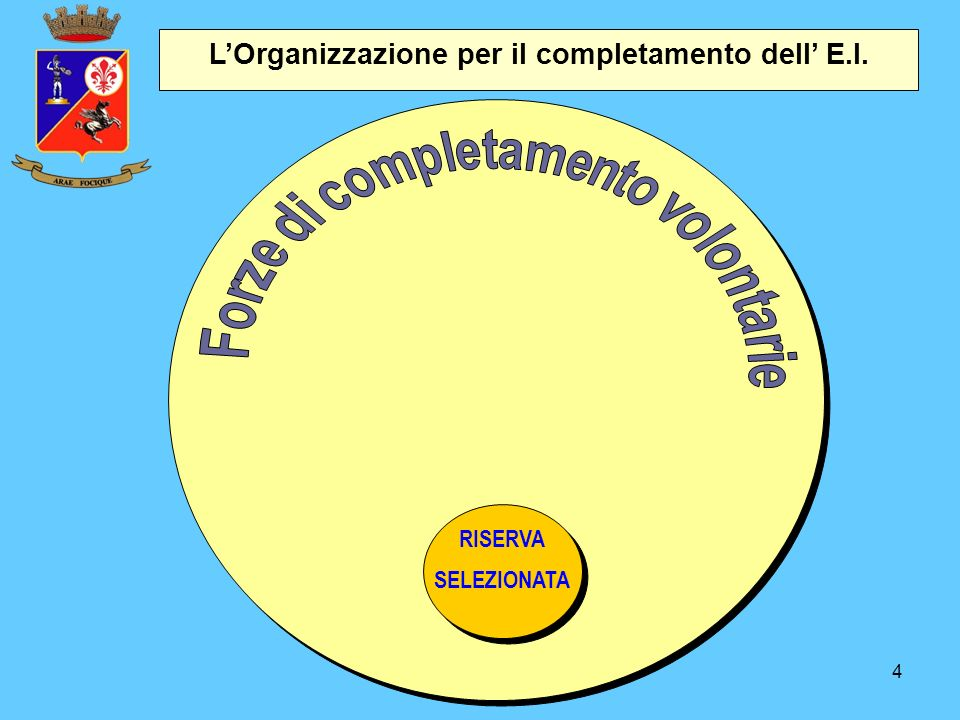 4 L'Organizzazione per il completamento dell' E.I. RISERVA SELEZIONATA