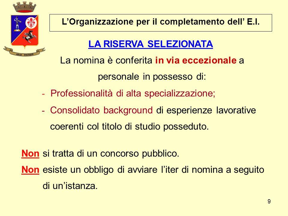 9 La nomina è conferita in via eccezionale a personale in possesso di: - Professionalità di alta specializzazione; - Consolidato background di esperie
