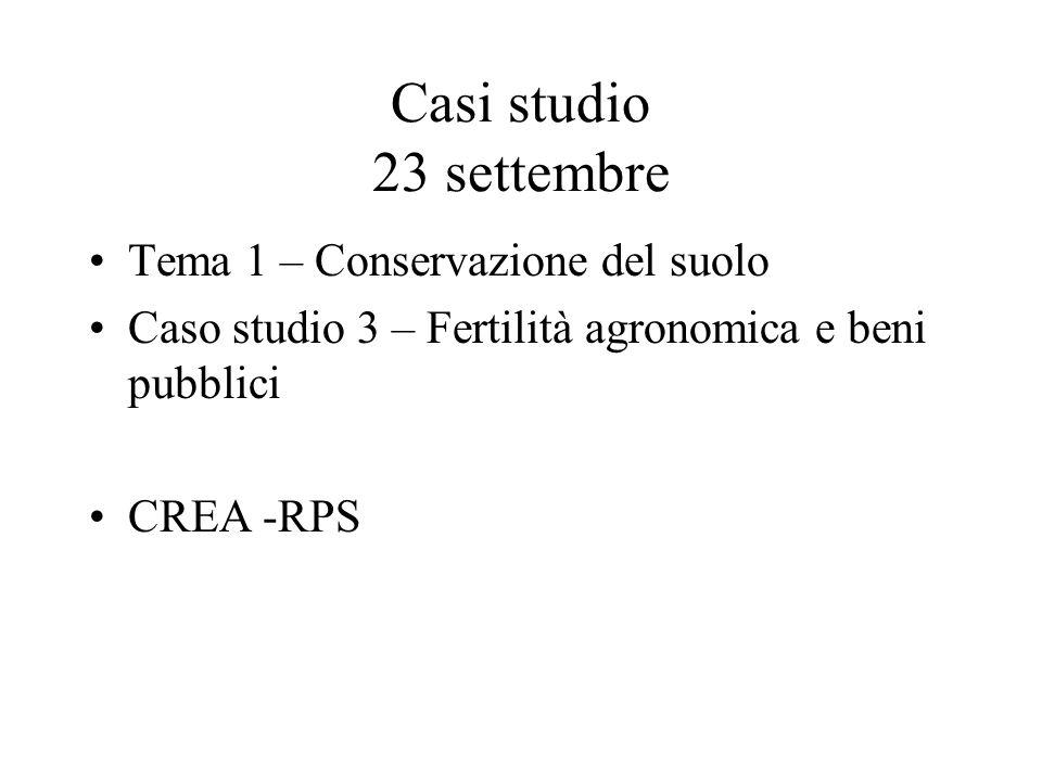 Casi studio 23 settembre Tema 1 – Conservazione del suolo Caso studio 3 – Fertilità agronomica e beni pubblici CREA -RPS