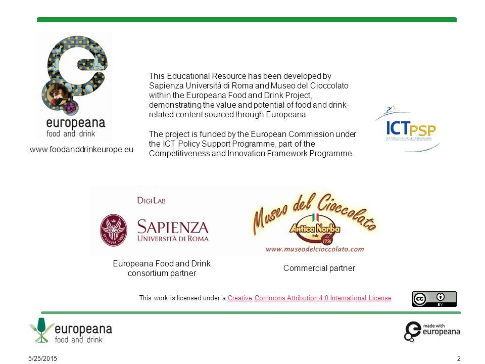 Ruolo del documento Questo documento è l'appendice C del Lesson Plan «Com'è fatto il cioccolato», disponibile online su http://foodanddrinkeurope.eu/elearning- resources/ http://foodanddrinkeurope.eu/elearning- resources/ Contiene le immagini utilizzate nella risorsa didattica che ritraggono reperti del Museo del Cioccolato Antica Norba situato a Norma (www.museodelcioccolato.com ).www.museodelcioccolato.com I reperti del Museo del Cioccolato riguardano la storia del cioccolato, la sua lavorazione, curiosità relative al consumo di cioccolato nei secoli.