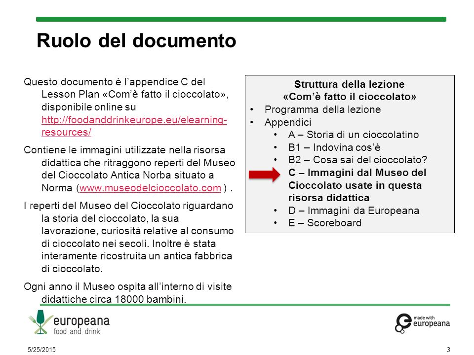 Ruolo del documento Questo documento è l'appendice C del Lesson Plan «Com'è fatto il cioccolato», disponibile online su http://foodanddrinkeurope.eu/e