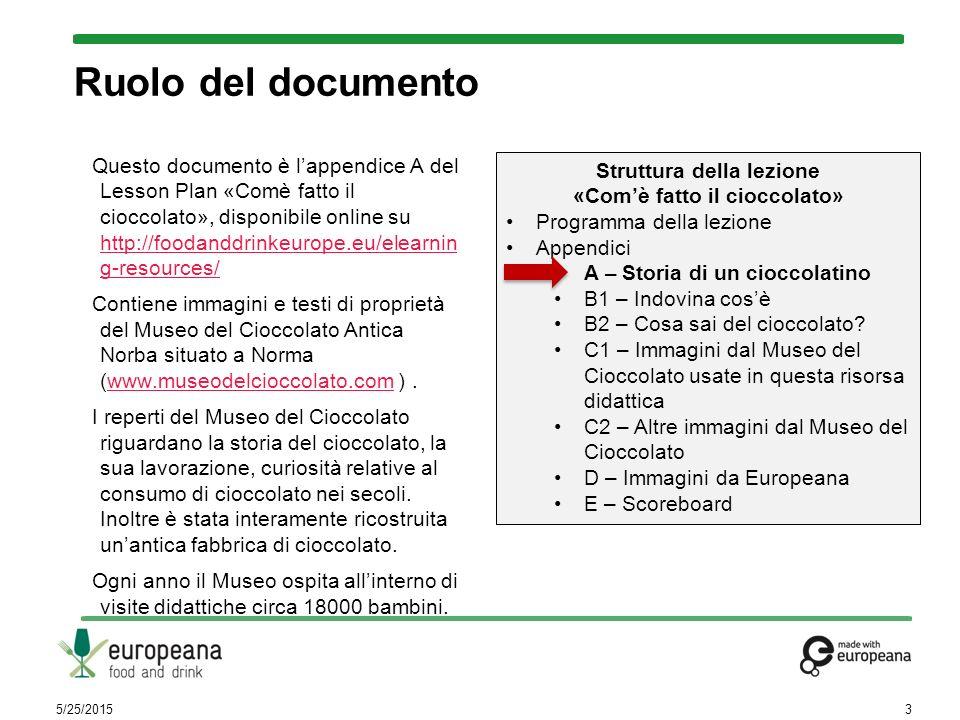 Ruolo del documento Questo documento è l'appendice A del Lesson Plan «Comè fatto il cioccolato», disponibile online su http://foodanddrinkeurope.eu/el