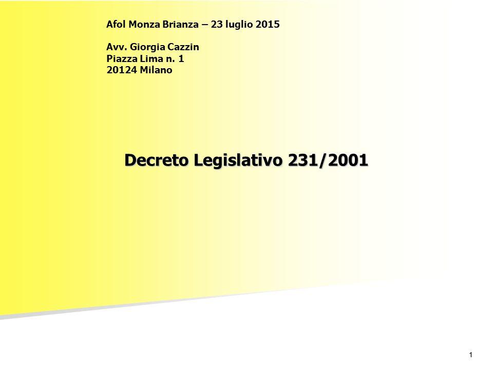 11 Decreto Legislativo 231/2001 Afol Monza Brianza – 23 luglio 2015 Avv. Giorgia Cazzin Piazza Lima n. 1 20124 Milano