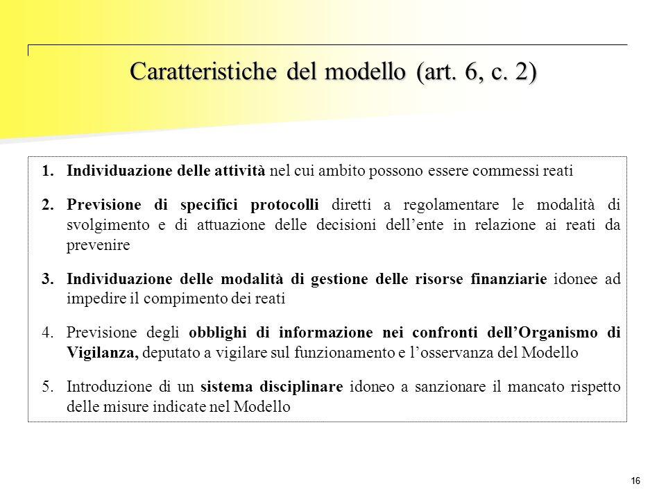 16 1.Individuazione delle attività nel cui ambito possono essere commessi reati 2.Previsione di specifici protocolli diretti a regolamentare le modali