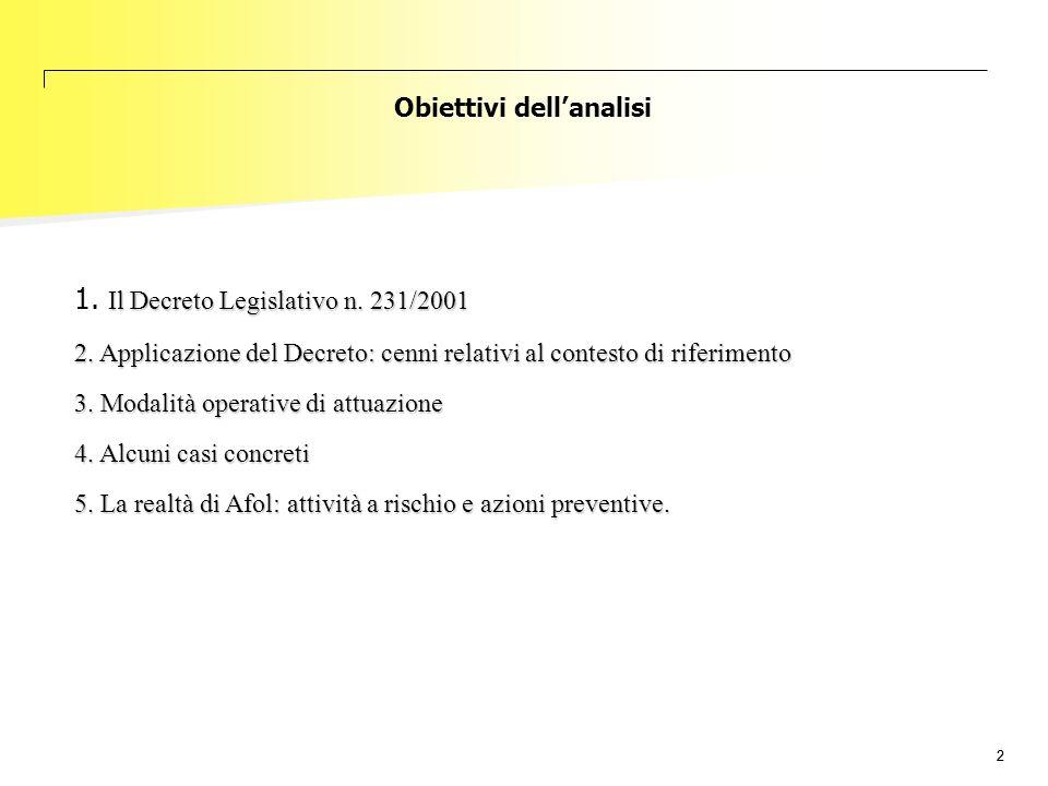 22 Il Decreto Legislativo n. 231/2001 1. Il Decreto Legislativo n. 231/2001 2. Applicazione del Decreto: cenni relativi al contesto di riferimento 3.