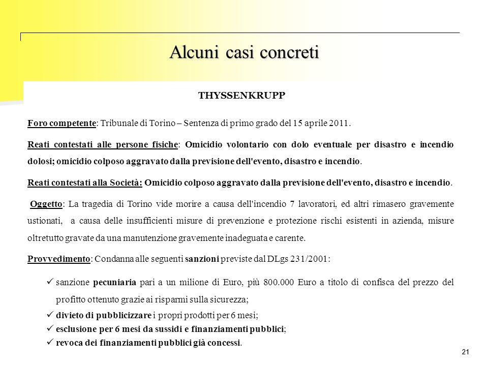 21 Foro competente: Tribunale di Torino – Sentenza di primo grado del 15 aprile 2011. Reati contestati alle persone fisiche: Omicidio volontario con d