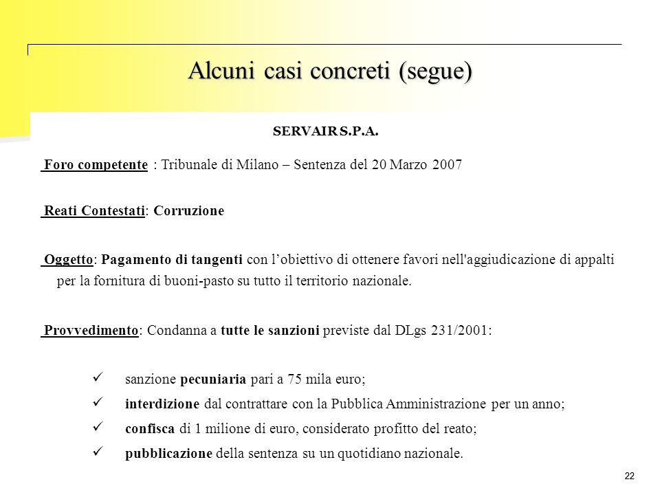 22 SERVAIR S.P.A. Foro competente : Tribunale di Milano – Sentenza del 20 Marzo 2007 Reati Contestati: Corruzione Oggetto: Pagamento di tangenti con l