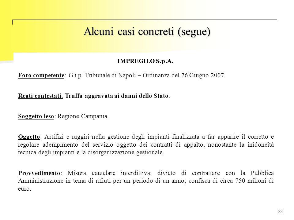 23 IMPREGILO S.p.A. Foro competente: G.i.p. Tribunale di Napoli – Ordinanza del 26 Giugno 2007. Reati contestati: Truffa aggravata ai danni dello Stat