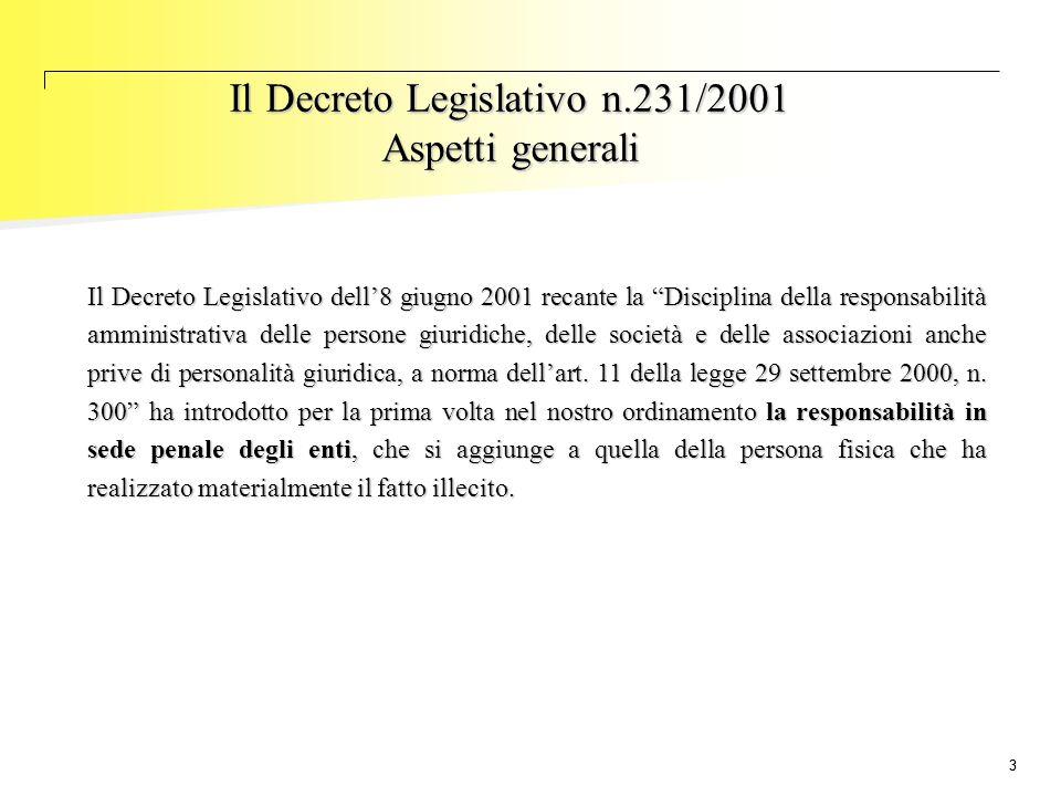"""33 Il Decreto Legislativo n.231/2001 Aspetti generali Il Decreto Legislativo dell'8 giugno 2001 recante la """"Disciplina della responsabilità amministra"""