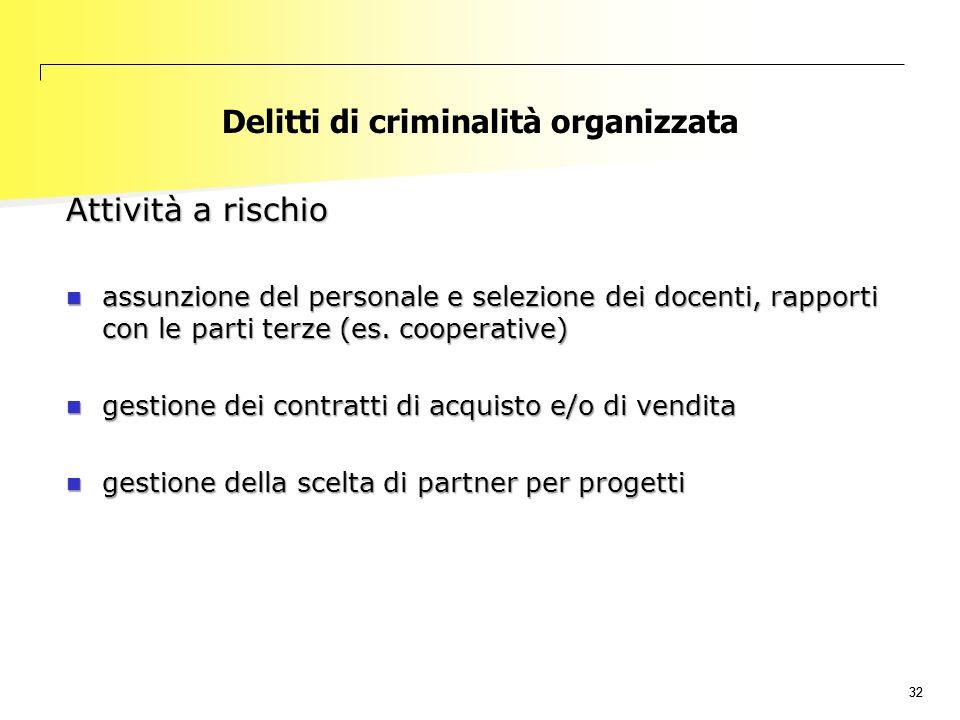 32 Delitti di criminalità organizzata Attività a rischio assunzione del personale e selezione dei docenti, rapporti con le parti terze (es. cooperativ