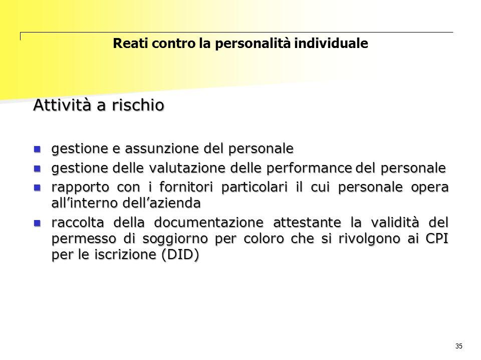 35 Reati contro la personalità individuale Attività a rischio gestione e assunzione del personale gestione e assunzione del personale gestione delle v