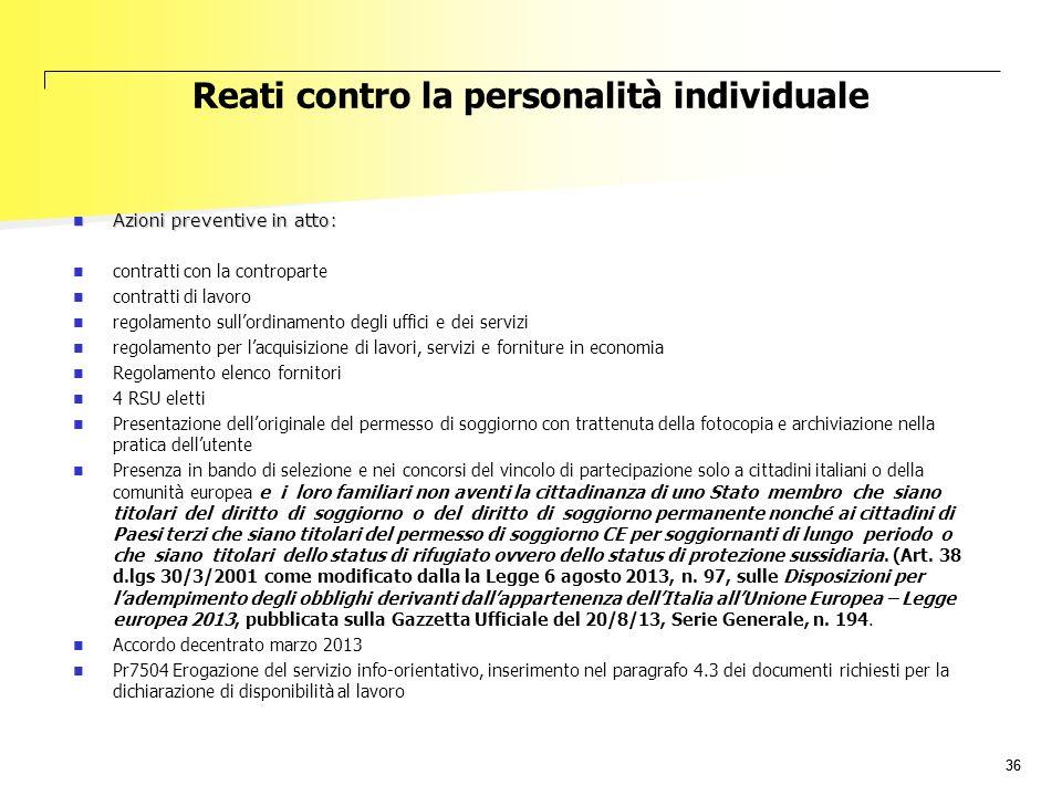 36 Reati contro la personalità individuale Azioni preventive in atto: Azioni preventive in atto: contratti con la controparte contratti di lavoro rego