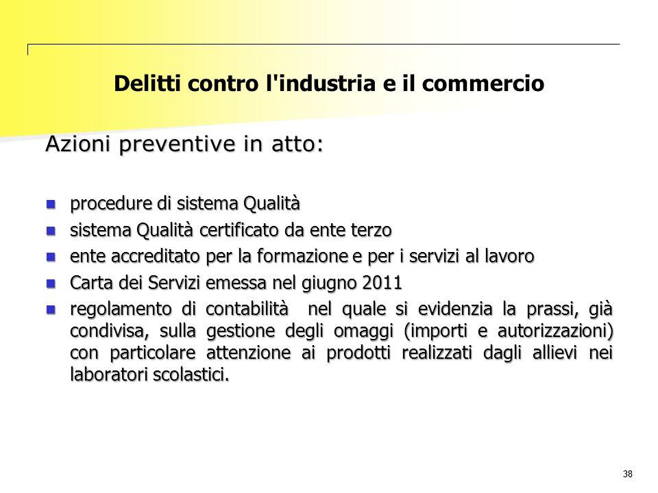 38 Delitti contro l'industria e il commercio Azioni preventive in atto: procedure di sistema Qualità procedure di sistema Qualità sistema Qualità cert