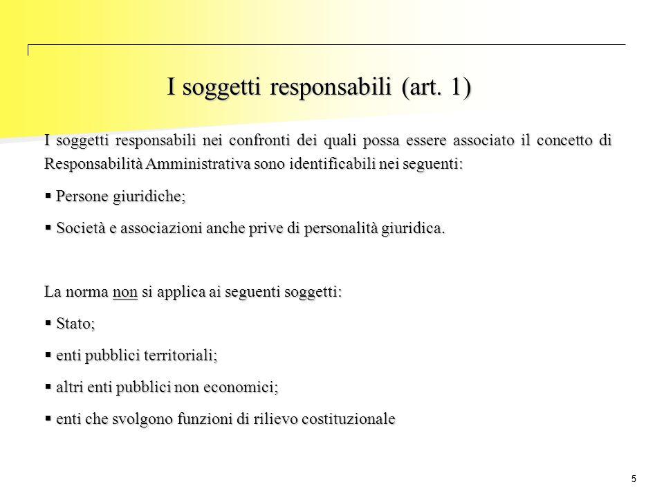 55 I soggetti responsabili (art. 1) I soggetti responsabili nei confronti dei quali possa essere associato il concetto di Responsabilità Amministrativ
