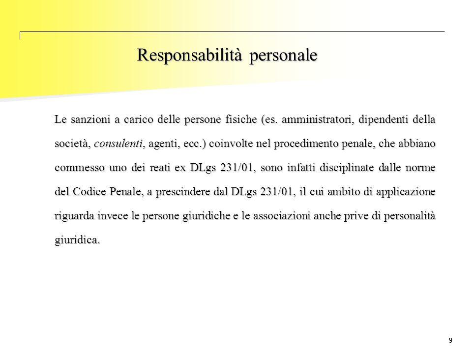 99 Le sanzioni a carico delle persone fisiche (es. amministratori, dipendenti della società, consulenti, agenti, ecc.) coinvolte nel procedimento pena