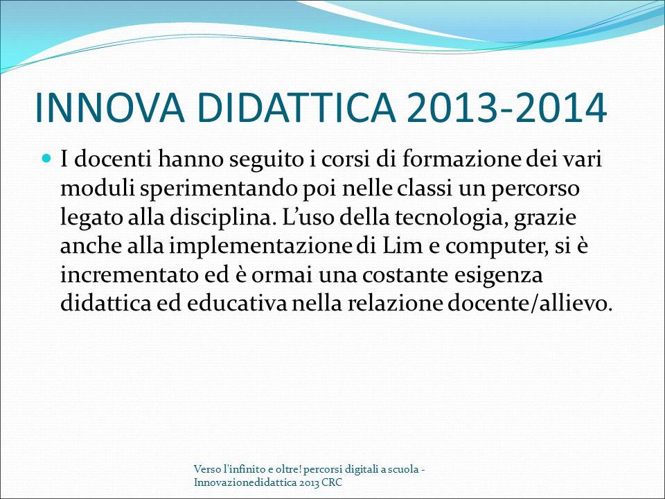 INNOVA DIDATTICA 2013-2014 I docenti hanno seguito i corsi di formazione dei vari moduli sperimentando poi nelle classi un percorso legato alla discip