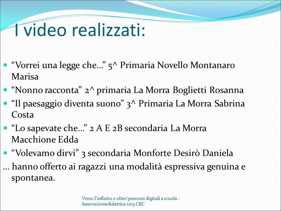 """I video realizzati: """"Vorrei una legge che…"""" 5^ Primaria Novello Montanaro Marisa """"Nonno racconta"""" 2^ primaria La Morra Boglietti Rosanna """"Il paesaggio"""
