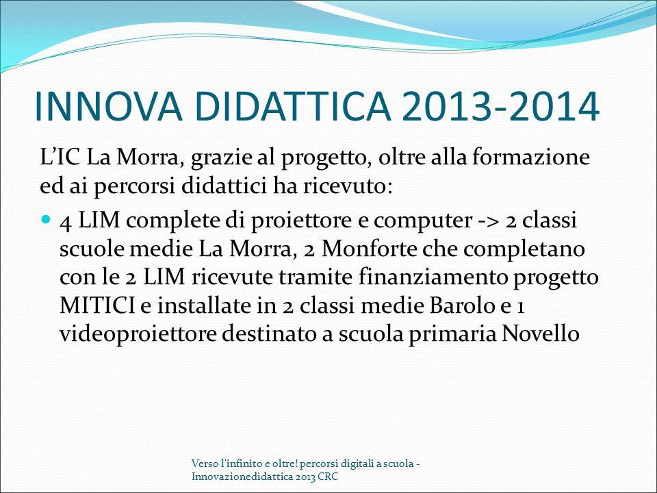INNOVA DIDATTICA 2013-2014 L'IC La Morra, grazie al progetto, oltre alla formazione ed ai percorsi didattici ha ricevuto: 4 LIM complete di proiettore