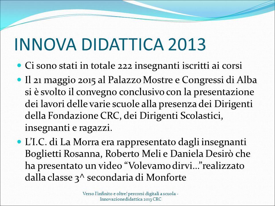 INNOVA DIDATTICA 2013 Ci sono stati in totale 222 insegnanti iscritti ai corsi Il 21 maggio 2015 al Palazzo Mostre e Congressi di Alba si è svolto il
