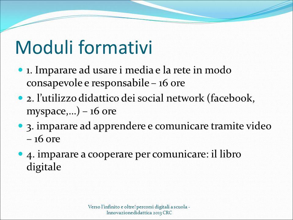 Moduli formativi 1. Imparare ad usare i media e la rete in modo consapevole e responsabile – 16 ore 2. l'utilizzo didattico dei social network (facebo