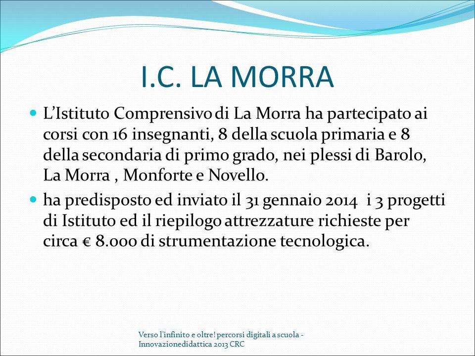 I.C. LA MORRA L'Istituto Comprensivo di La Morra ha partecipato ai corsi con 16 insegnanti, 8 della scuola primaria e 8 della secondaria di primo grad