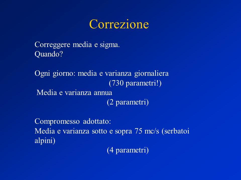Correzione Correggere media e sigma. Quando? Ogni giorno: media e varianza giornaliera (730 parametri!) Media e varianza annua (2 parametri) Compromes