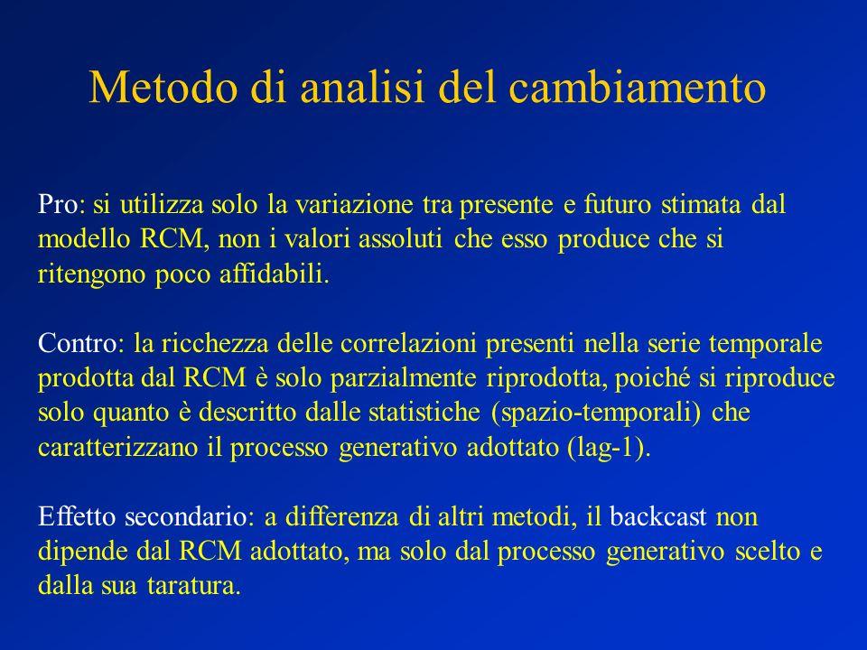 Metodo di analisi del cambiamento Pro: si utilizza solo la variazione tra presente e futuro stimata dal modello RCM, non i valori assoluti che esso pr
