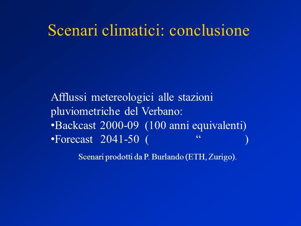 Scenari climatici: conclusione Afflussi metereologici alle stazioni pluviometriche del Verbano: Backcast 2000-09 (100 anni equivalenti) Forecast 2041-